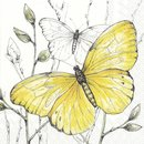 L Serviette Colourful Butterflies yellow
